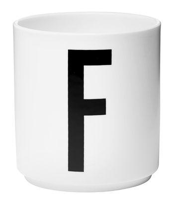 Mug Arne Jacobsen / Porcelaine - Lettre F - Design Letters blanc en céramique