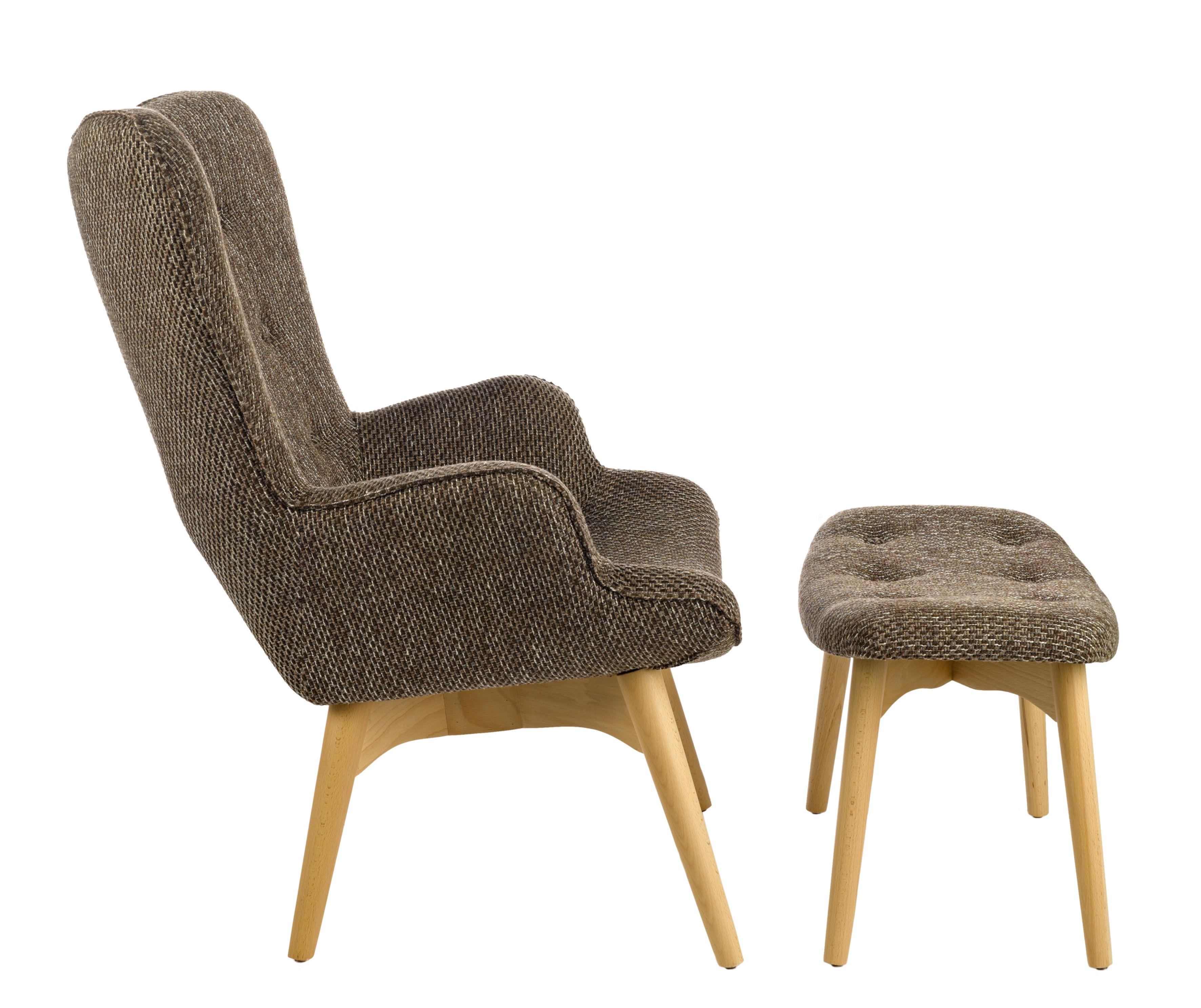 fauteuil rembourr joan avec repose pieds marron pols. Black Bedroom Furniture Sets. Home Design Ideas