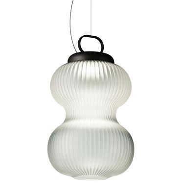 Kanji LED Pendelleuchte / Glas - Ø 31 cm x H 51 cm - Fontana Arte - Weiß,Schwarz