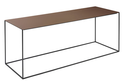 Tavolino basso Slim Irony / 124 x 41 x H 46 cm - Zeus - Ruggine,Nero ramato - Metallo