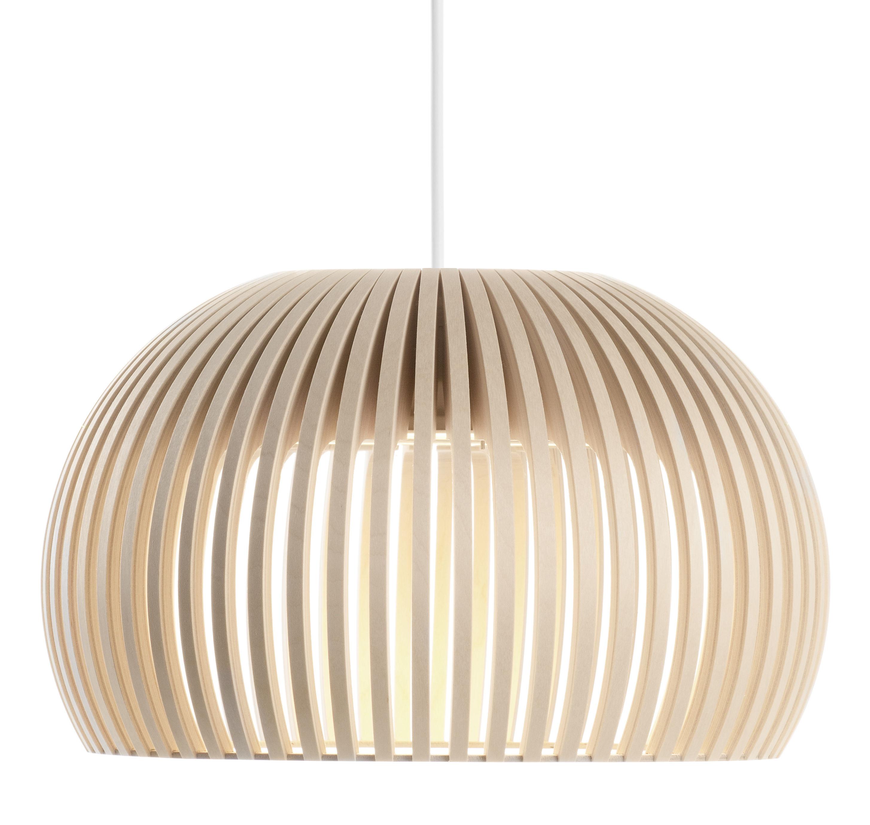 suspension atto led 34 cm bouleau naturel c ble blanc secto design. Black Bedroom Furniture Sets. Home Design Ideas