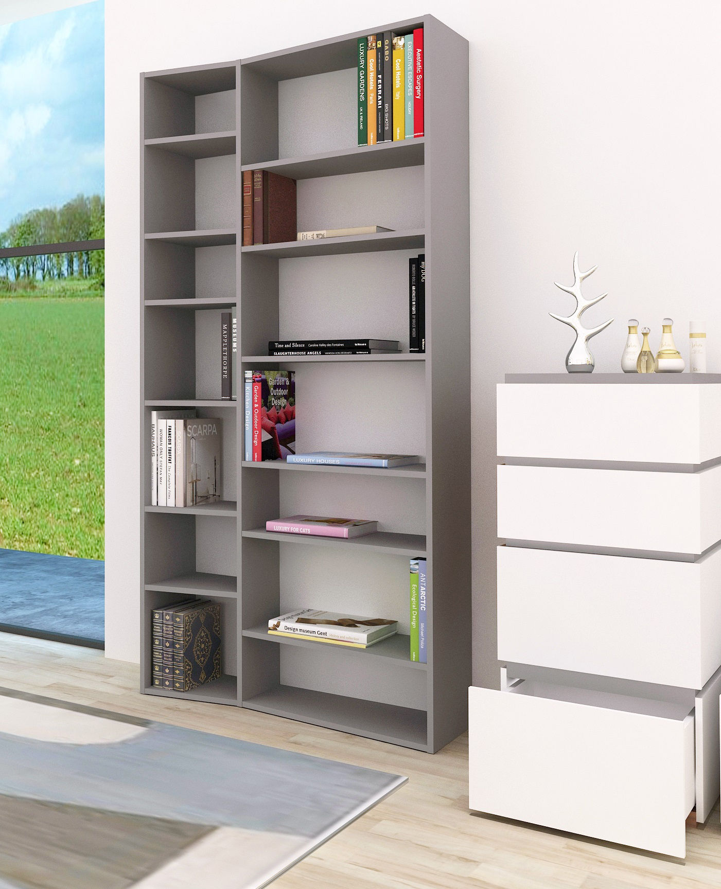 biblioth que new york 001 l 108 x h 224 cm gris pop up home made in design. Black Bedroom Furniture Sets. Home Design Ideas