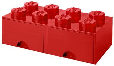 Boîte Lego® Brick 8 plots Empilable 2 tiroirs ROOM COPENHAGEN rouge en matière plastique