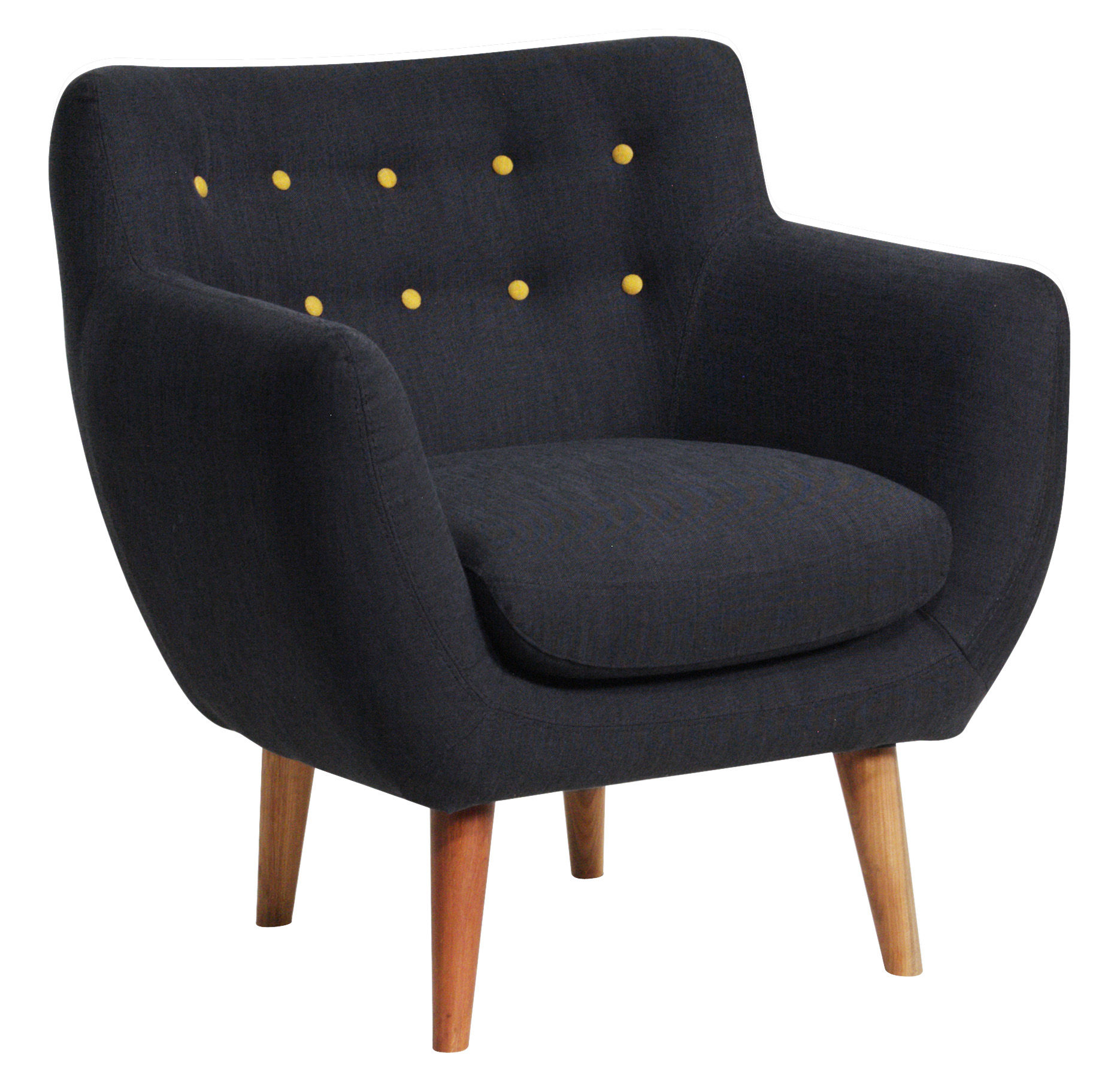 fauteuil rembourr coogee noir de jais boutons jaune citron sentou edition. Black Bedroom Furniture Sets. Home Design Ideas