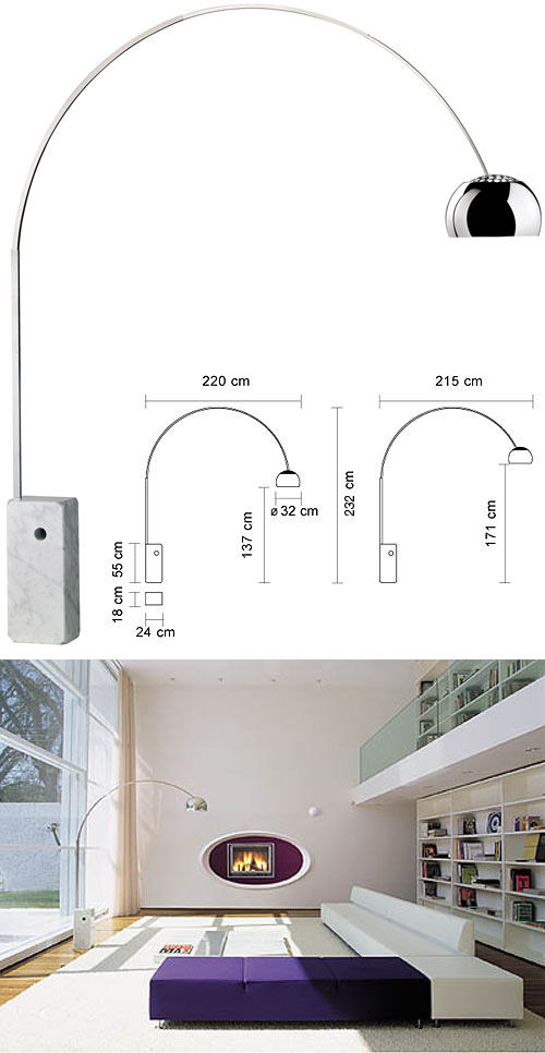 Arco Floor Lamp H 240 Cm Led By Flos Made In Design Uk