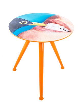 - Table d'appoint Toiletpaper - Corbeau / Ø 48 x H 49 cm - Seletti - Corbeau / Pied orange - Bois peint