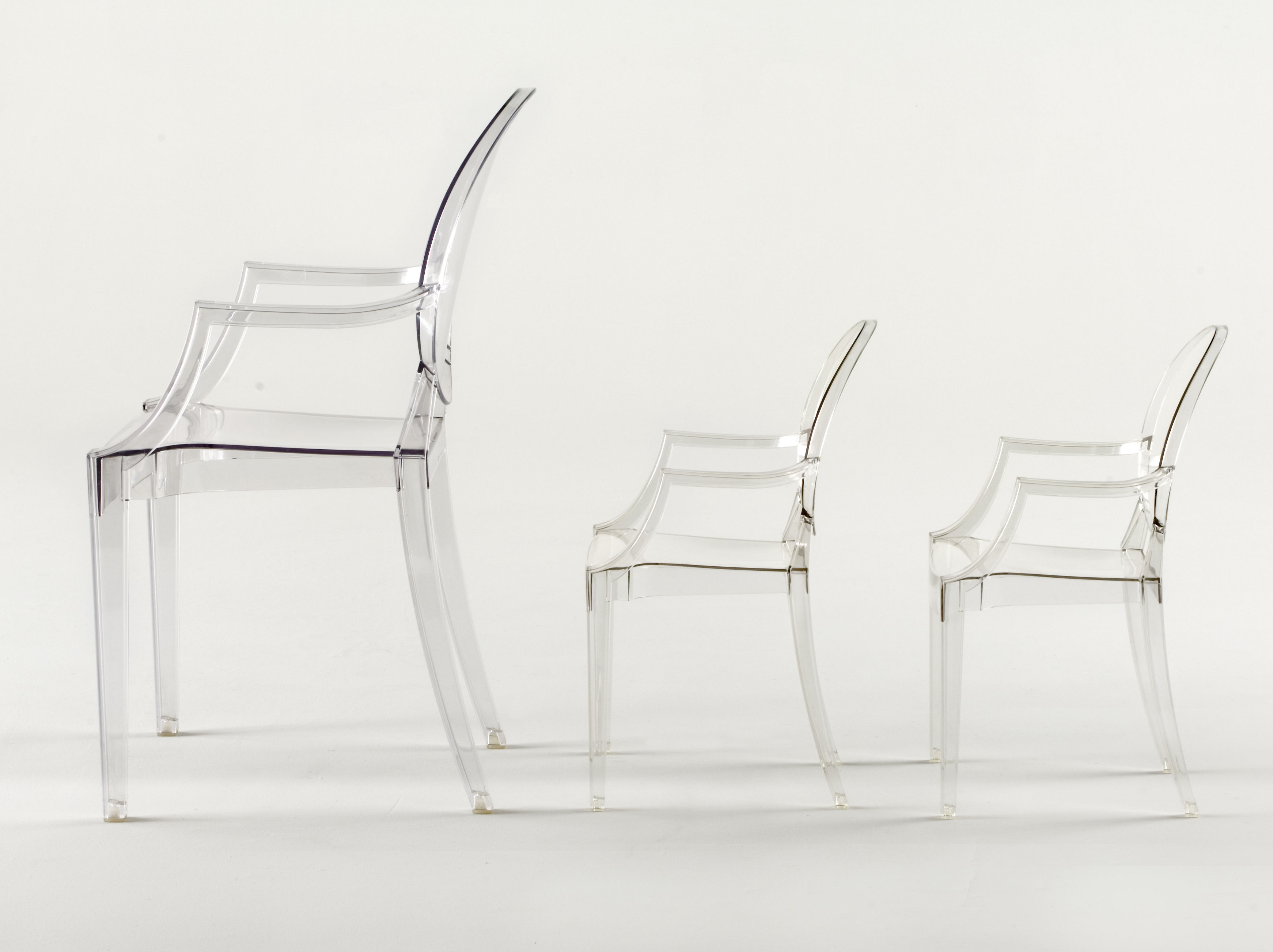 crystal starck prod polycarbonate ghost stackable transparent kartell chair louis by armchair