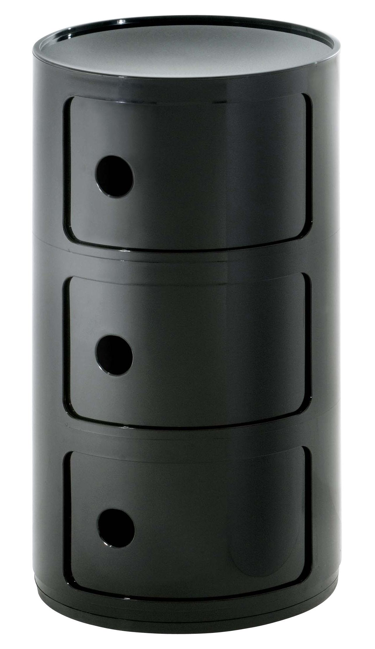 componibili storage 3 drawers h 58 cm black by kartell. Black Bedroom Furniture Sets. Home Design Ideas