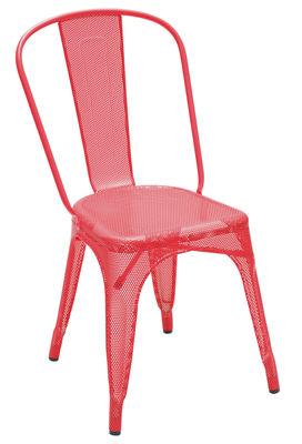 Mobilier - Chaises, fauteuils de salle à manger - Chaise empilable A perforée / Couleur brillante - Tolix - Rouge (brillant) - Acier inoxydable laqué