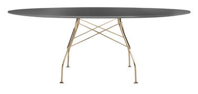 Glossy Glass Tisch / oval - 194 x 120 cm - Tischplatte aus Glas - Kartell - Schwarz,Verchromt