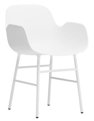 Foto Poltrona Form - / Gambe in metallo di Normann Copenhagen - Bianco - Metallo