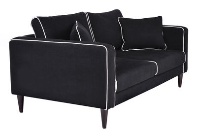 canap droit noa 2 places l 160 cm noir passepoil. Black Bedroom Furniture Sets. Home Design Ideas