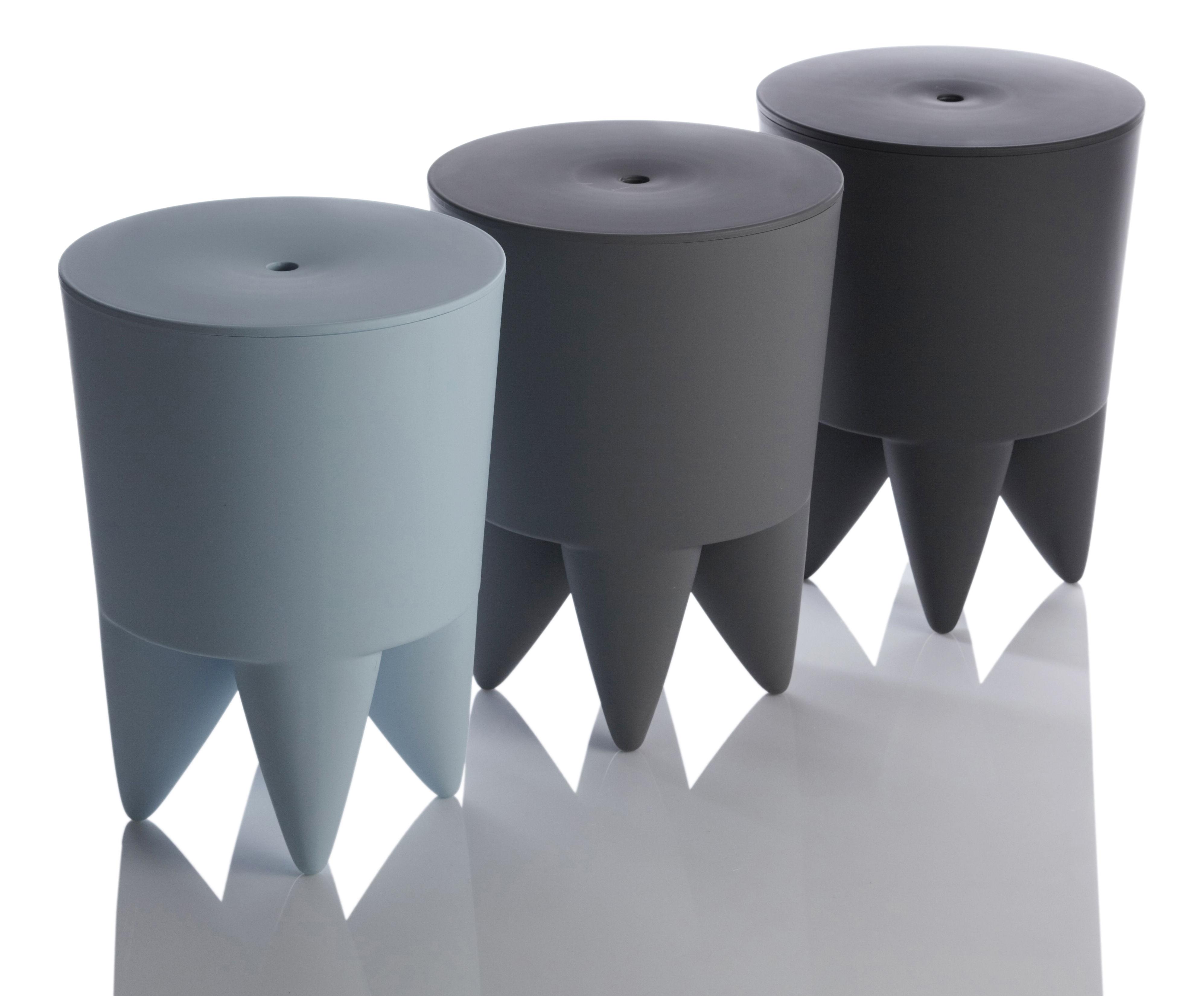 tabouret new bubu 1er coffre plastique gris souris xo made in design. Black Bedroom Furniture Sets. Home Design Ideas