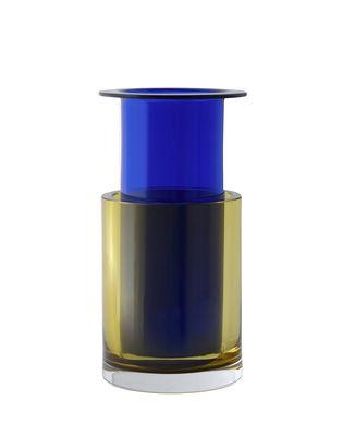 Déco - Vases - Vase Tricolore SH2 / Verre - Set 2 vases empilables - &tradition - n°2/ Jaune & Bleu - Verre soufflé-moulé bouche
