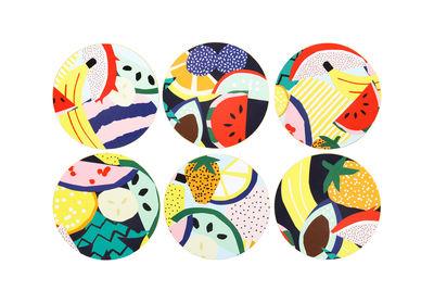 Dessous de verre Fruits / Liège - Set de 6 - & klevering multicolore en liège