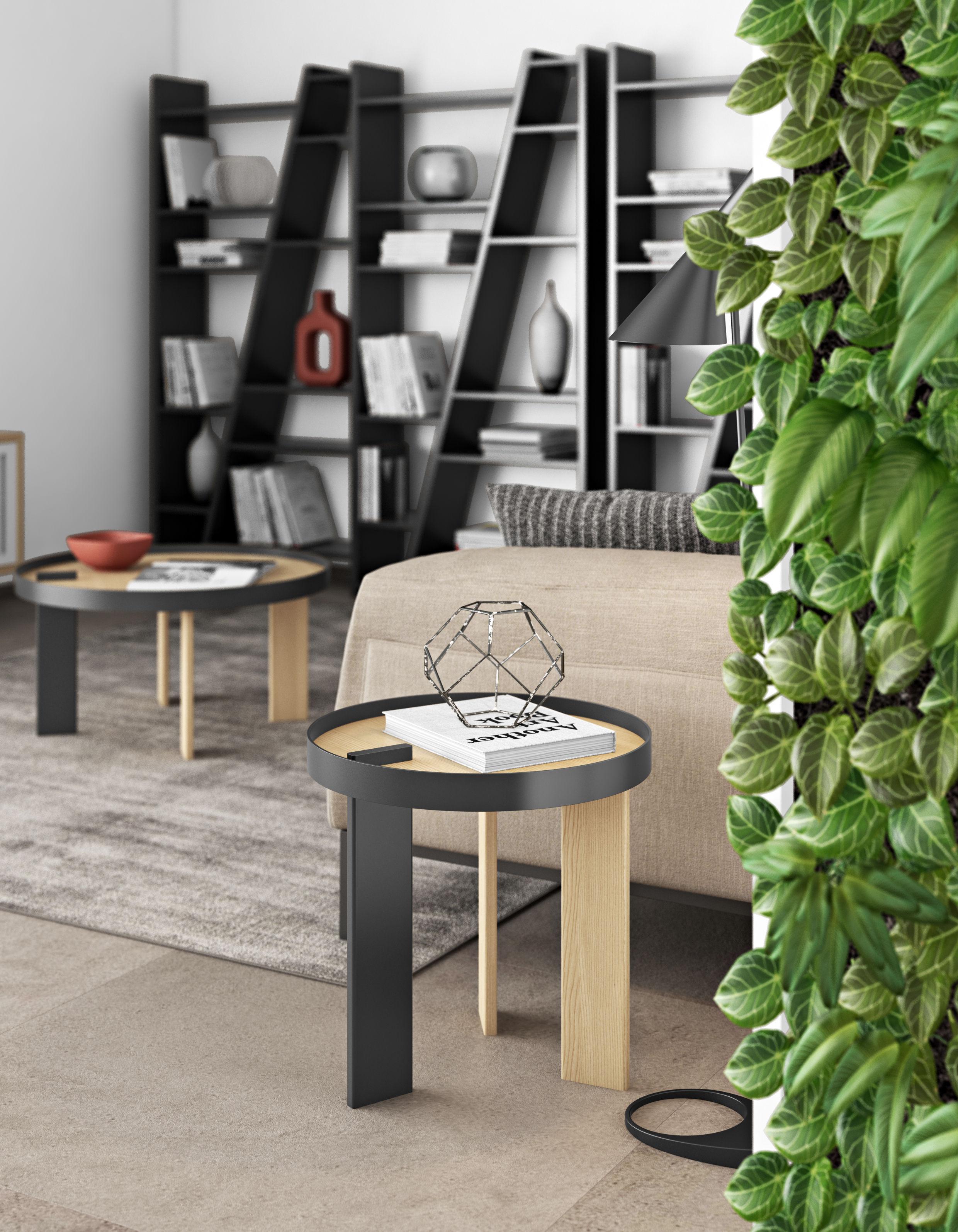table d 39 appoint tokyo bois m tal 50 x h 50 cm ch ne noir pop up home. Black Bedroom Furniture Sets. Home Design Ideas