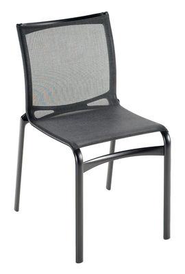 Mobilier - Chaises, fauteuils de salle à manger - Chaise empilable Bigframe / Assise tissu - Alias - Structure laquée gris foncé / assise en tissu maillé gris métall - Aluminium, Maille élastique