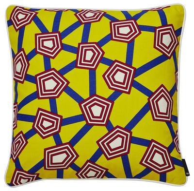 Coussin Printed by Nathalie du Pasquier 50 x 50 cm Hay bleu,jaune,rouge,gris en tissu