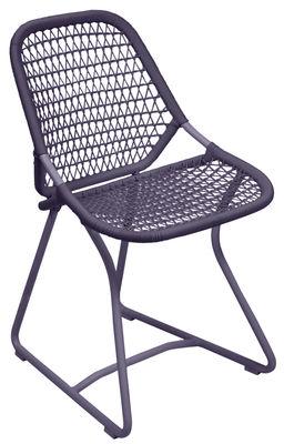 Chaise Sixties / Assise souple plastique tressé - Fermob prune en matière plastique