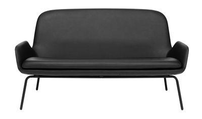Mobilier - Canapés - Canapé droit Era / L 145 cm - Cuir & métal - Normann Copenhagen - Cuir noir / Pieds noirs - Acier laqué, Cuir, Mousse polyuréthane