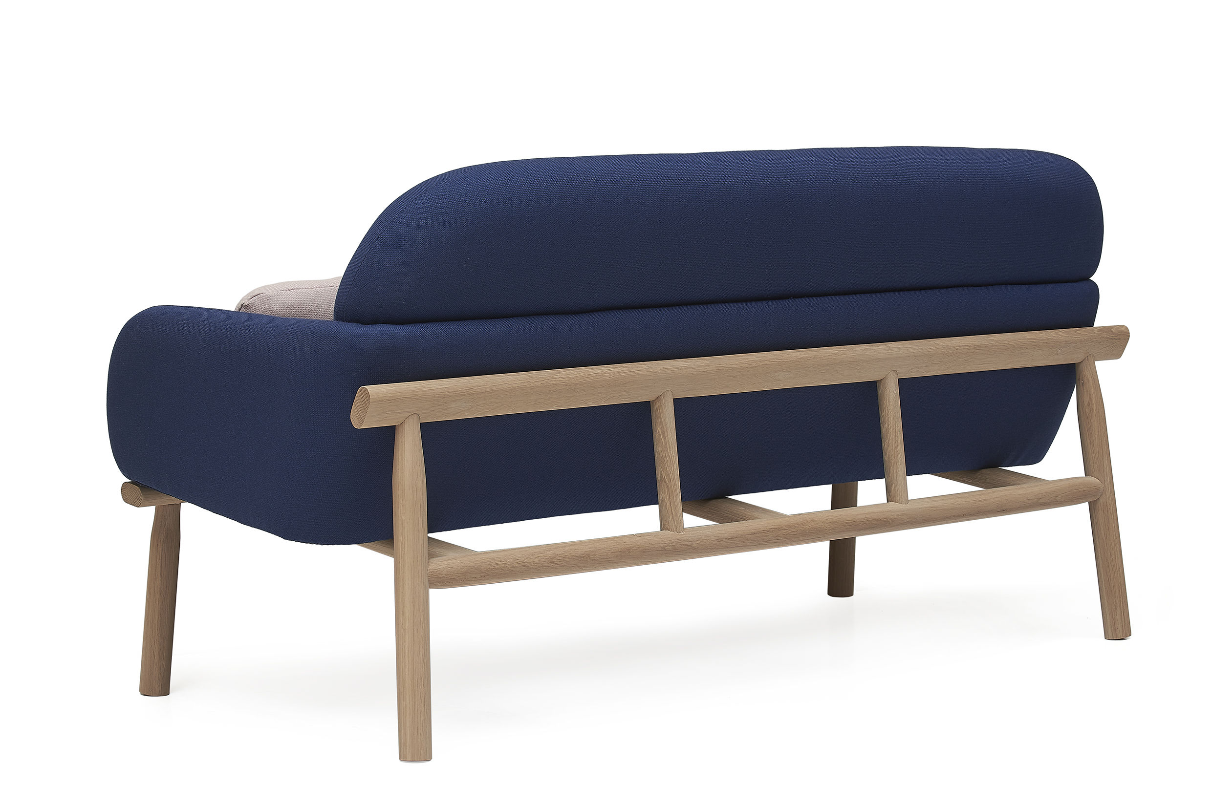 georges straight sofa 2 places l 146 cm navy blue blue and pink cushions by hart. Black Bedroom Furniture Sets. Home Design Ideas