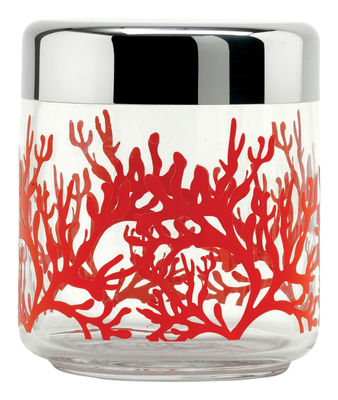 Bocal hermétique Mediterraneo Alessi rouge,transparent en métal