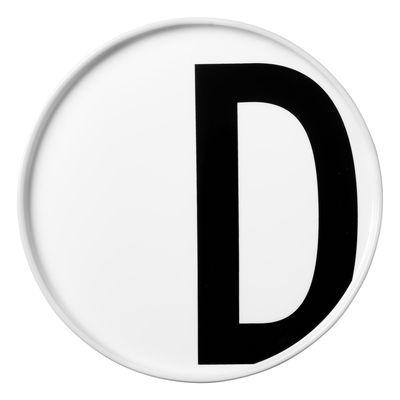 Assiette Arne Jacobsen / Porcelaine - Lettre D - Ø 20 cm - Design Letters blanc en céramique