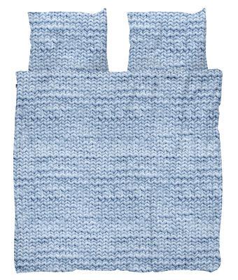 Déco - Textile - Parure de lit 2 personnes Tricot / 240 x 220 cm - Snurk - Tricot / Bleu - Percale de coton
