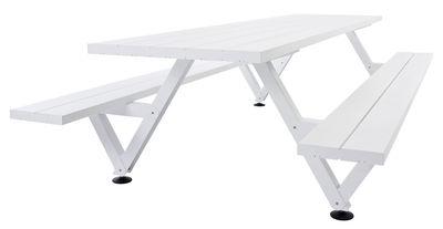 Set table & bancs Marina / 165 x 72 cm - Extremis blanc en métal