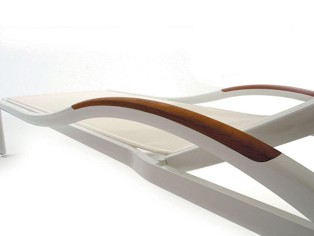 bain de soleil premi re structure blanche teck toile. Black Bedroom Furniture Sets. Home Design Ideas