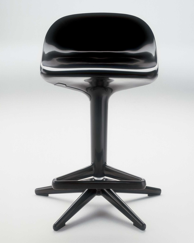 tabouret haut r glable spoon pivotant plastique noir kartell. Black Bedroom Furniture Sets. Home Design Ideas