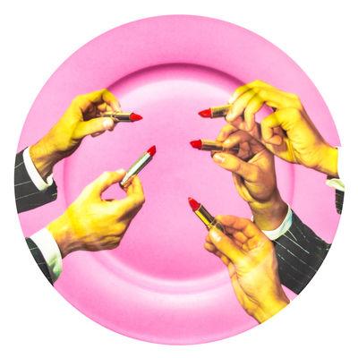 Assiette Toiletpaper - Rouge à lèvre / Porcelaine - Seletti multicolore en céramique