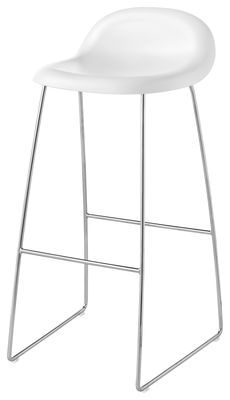 Foto Sgabello alto Gubi 3 H 75 cm - Base a slitta - Guscio HiRek - Gubi - Bianco - Materiale plastico Sgabello bar