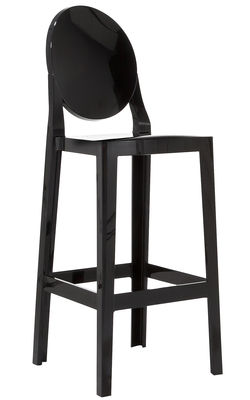 Chaise de bar One more / H 75cm - Plastique - Kartell noir en matière plastique