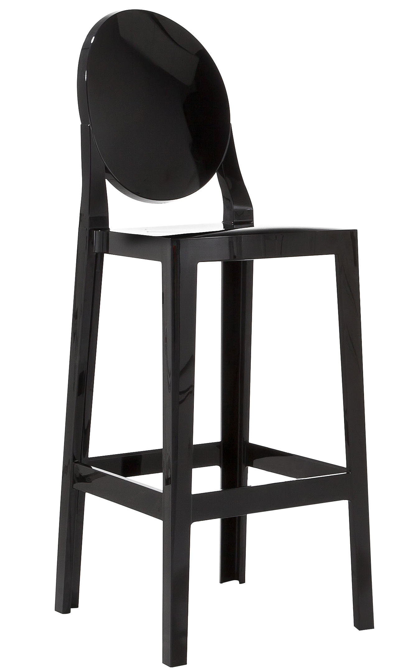 chaise de bar one more h 75cm plastique noir kartell. Black Bedroom Furniture Sets. Home Design Ideas