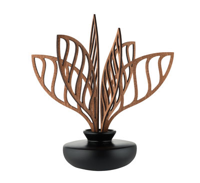 Diffuseur de parfum The Five Seasons / Porcelaine - H 22,5 cm - Alessi noir,bois naturel en céramique