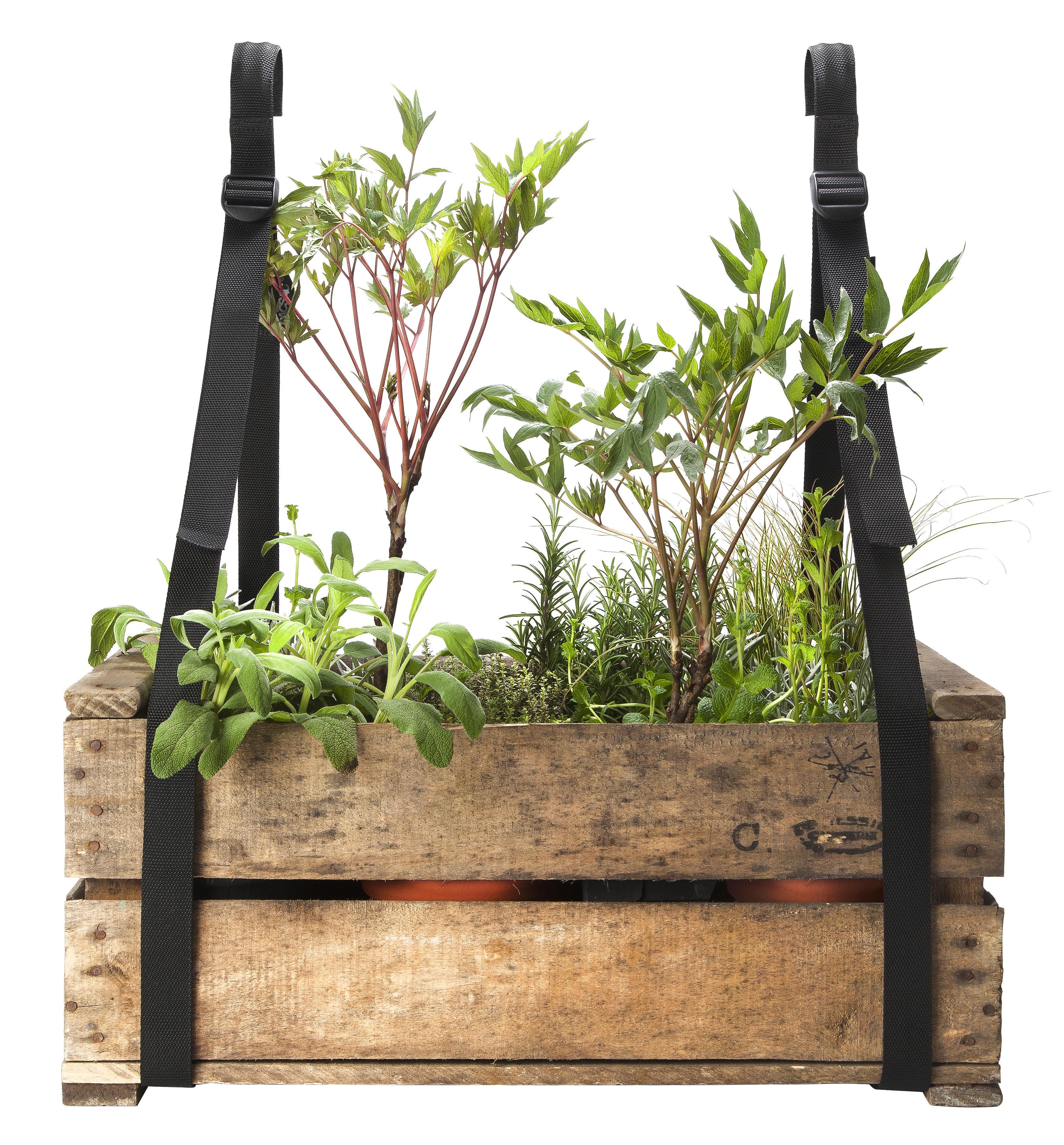 Support jardini re bretelles de balcon set 2 sangles suspension noir bacsac made in design - Support de jardiniere ...