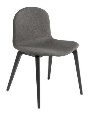 Mobilier - Chaises, fauteuils de salle à manger - Chaise rembourrée Bob XL / Tissu intégral - L 52 cm - Ondarreta - Tissu anthracite / Pieds anthracite - Hêtre laqué, Tissu