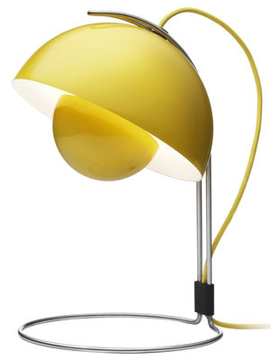 lampe de table flowerpot vp4 h 36 cm by verner panton 1969 jaune tradition made in design. Black Bedroom Furniture Sets. Home Design Ideas