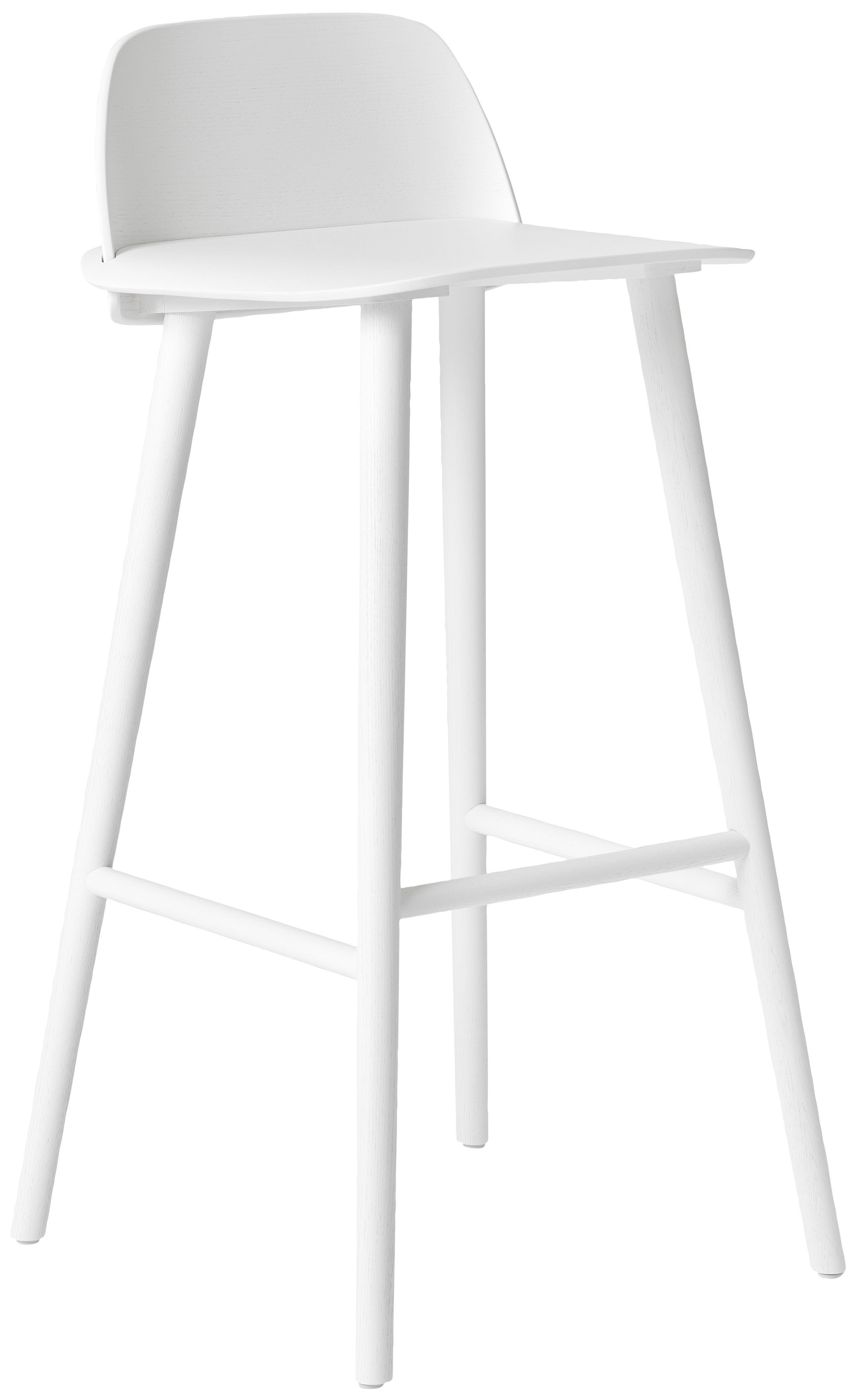 Chaise de bar nerd h 75 cm bois blanc muuto for Chaise bar blanc bois