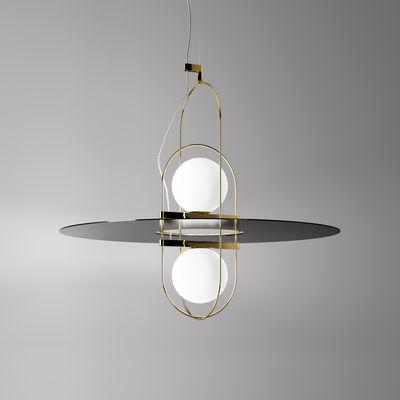 Luminaire - Suspensions - Suspension Setareh double / LED - Larg 65 x H 55 cm - Fontana Arte - Or, noir & blanc - Métal, Verre soufflé bouche
