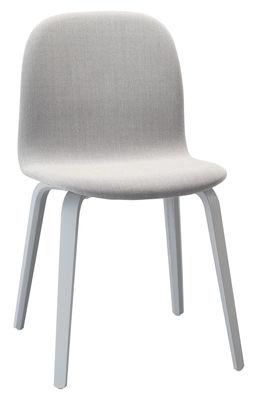 Mobilier - Chaises, fauteuils de salle à manger - Chaise rembourrée Visu / Bois & tissu - Muuto - Structure grise / Tissu gris clair - Bois peint, Tissu Kvadrat