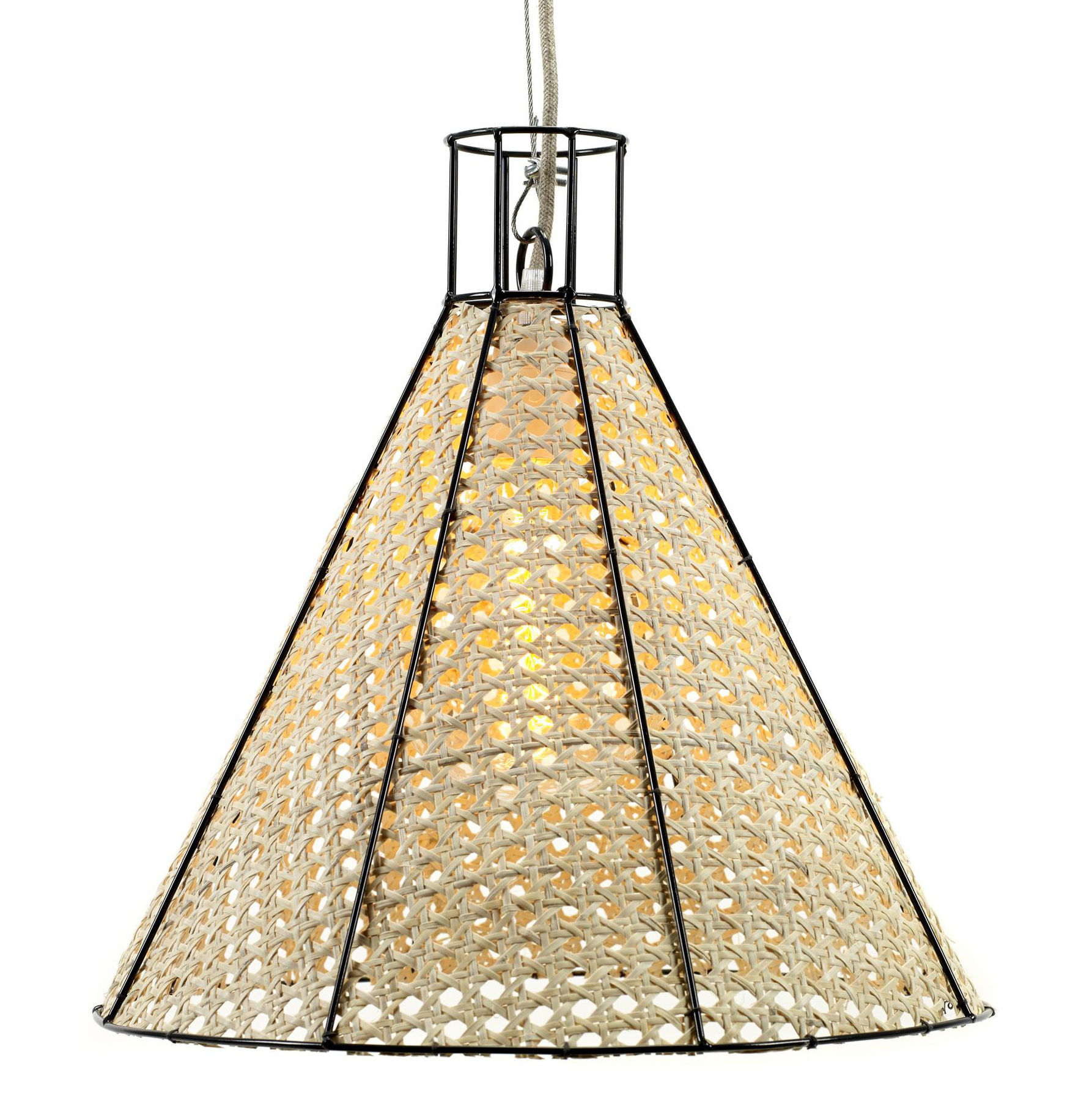 Ranarp Pendant Lamp Black 38 Cm: Ø 38 X H 37 Cm Natural Straw / Black