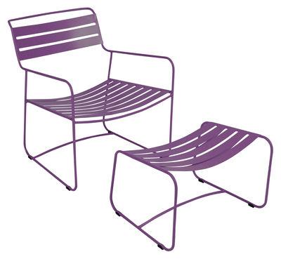 Set poltrona e poggiapiedi Surprising Lounger - Set Poltrona + poggiapiedi di Fermob - Melanzana - Metallo