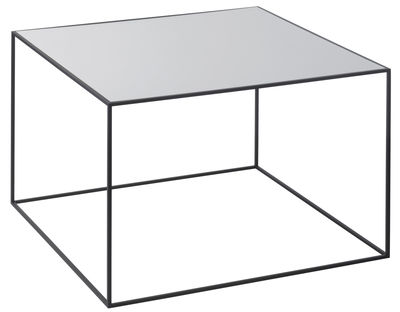 Table d´appoint Twin / L 49 x H 35 cm - Plateau réversible - by Lassen noir,gris clair en métal