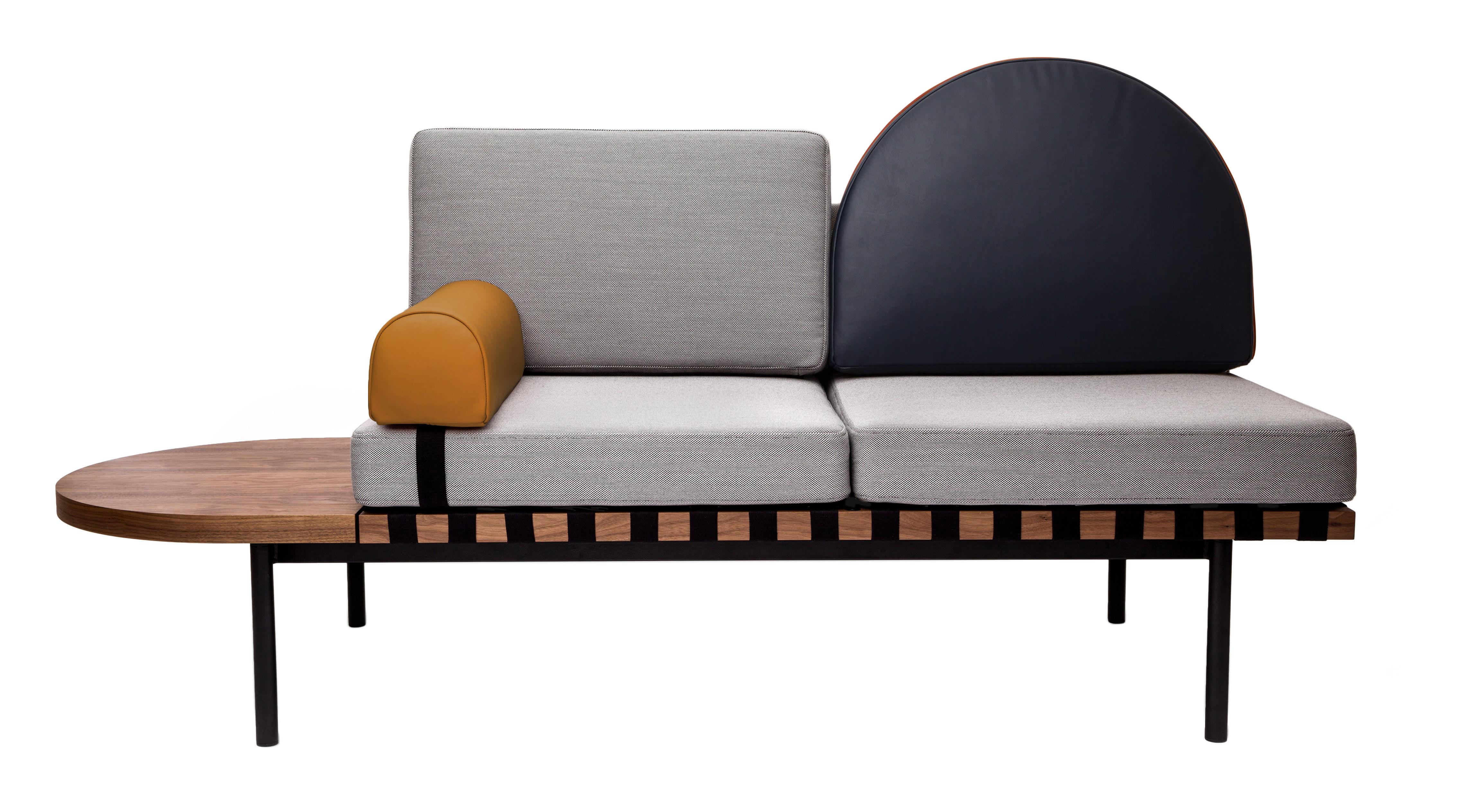 Canap 2 places grid modulable l 187 cm gris bleu for Copie meuble design