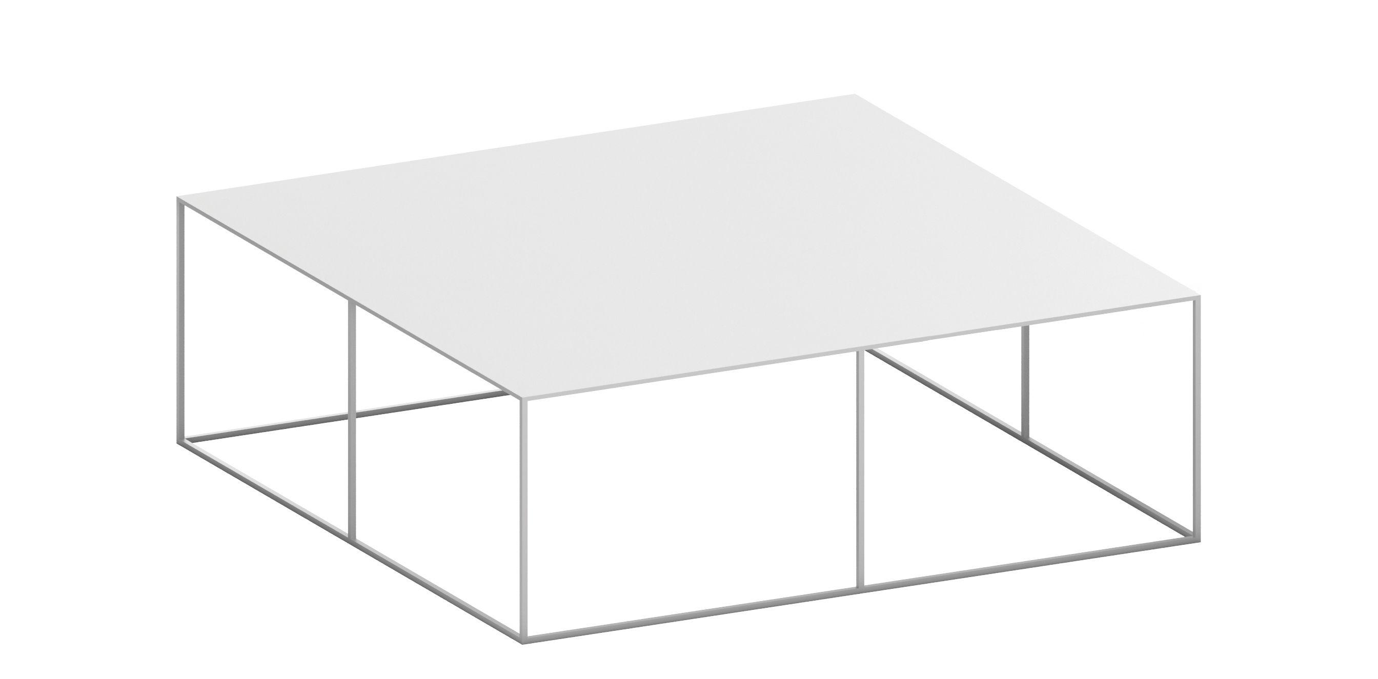 Table basse slim irony 100 x 100 x h 34 cm blanc zeus for Table basse design 100 x 100