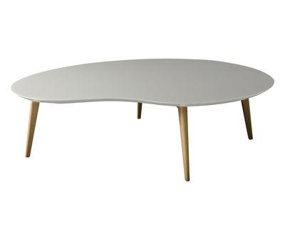 Table basse Lalinde XXL haricot / L 130cm / Pieds bois - Sentou Edition gris clair,chêne en bois