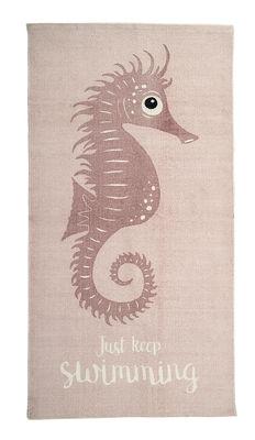 Tapis Hypocampe / Coton - 120 x 65 cm - Bloomingville rose en tissu