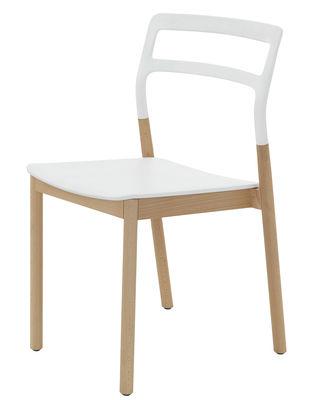 Mobilier - Chaises, fauteuils de salle à manger - Chaise empilable Florinda / Bois et plastique - De Padova - Blanc - Hêtre naturel, Matériau plastique